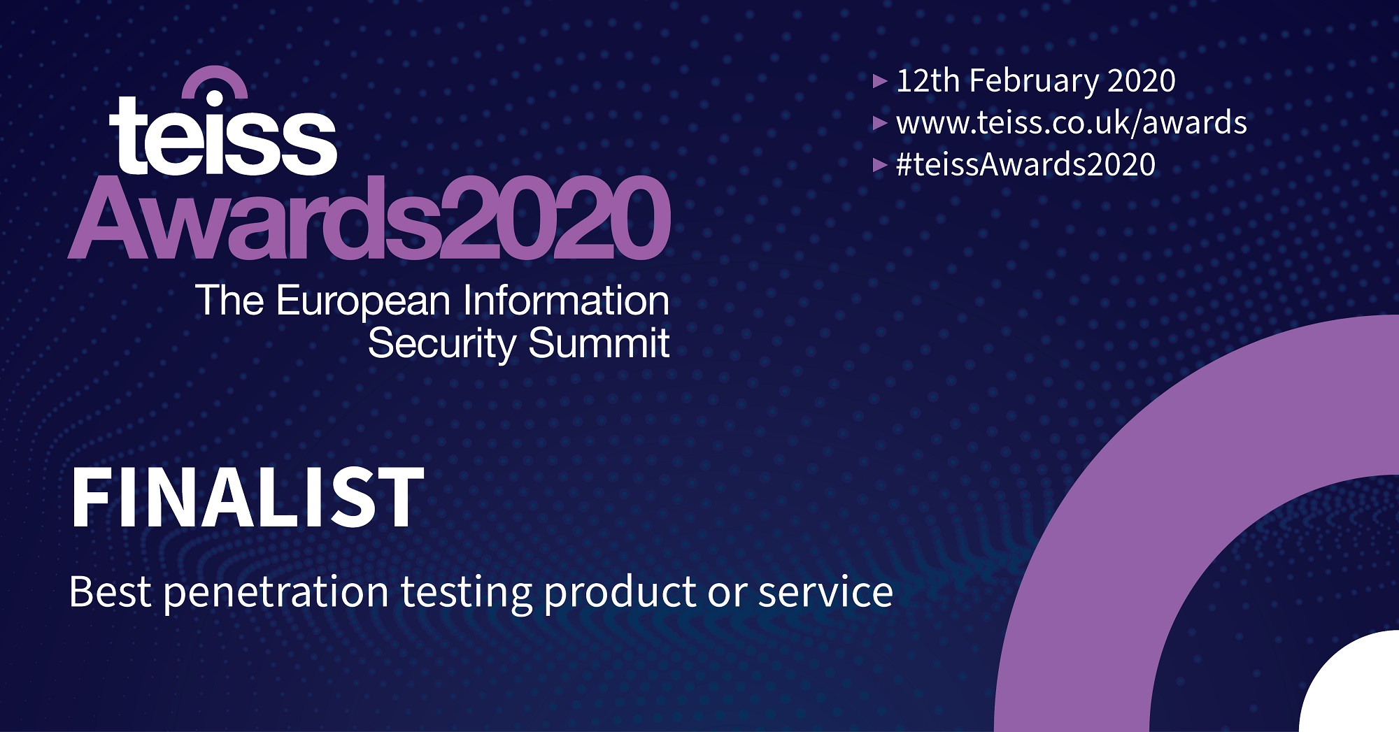 announced as a finalist at the teiss Awards 2020